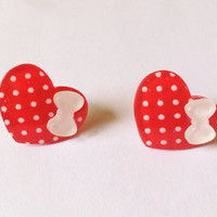 Polka Dot Red Heart Earrings with White Hello Kitty Bow