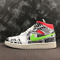 Air Jordan 1 Mid Appears With All Over Print Logos | 554724-119 - Best Online Sale