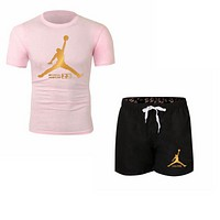 NIKE Jordan Summer New Fashion Letter People Print Women Men Sports Leisure Top And Shorts Two Piece Suit Pink