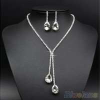 Bridal Wedding Silver Plated Crystal Rhinestone Necklace Earrings Jewelry Set (Color: Silver) [7981376327]