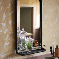 Metal Frame Mirror with Shelf