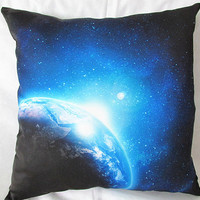 Sky blue outer space pillow cover 18x18  both sides print silk pillow cover for sofa