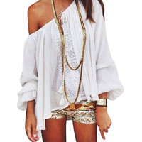 Summer Women Boho Loose Tops Off Shoulder Long Sleeve  Sexy White Shirt Lace Blouse