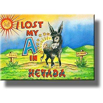I lost my A in Nevada, Donkey Comic Picture on Stretched Canvas , Wall Art Décor, Ready to Hang!