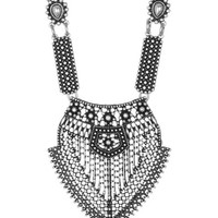 It's a piece of wearable art. Featuring antique silver-tone metal chainlink, intricately sheer design pendants, looks-like-beaded-dot detailing on rectangle pieces connector. Hook and eye closure. Pair with bohemian clothing.