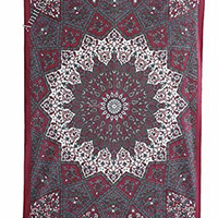 """Amitus Exports ® 1 X Star Mandala 80""""x54"""" Approx. Inches Maroon Grey Multi Color Twin Size Cotton Fabric Multi-Purpose Handmade Tapestry Hippy Indian Mandala Throws Bohemian Tapestries"""