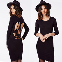 Hollow out Tight long-sleeved dress FF2Cd