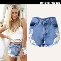 Summer Hot Sale Women's Fashion Ripped Holes Denim Pants Shorts [6034599425]