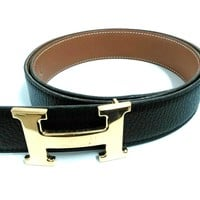 Auth HERMES Black Gold Leather Hardware H Belt Square A