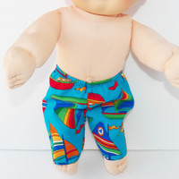 Cabbage Patch Clothes Kid 16 inch Blue Sailboat Pants Handmade- boy doll - NEW