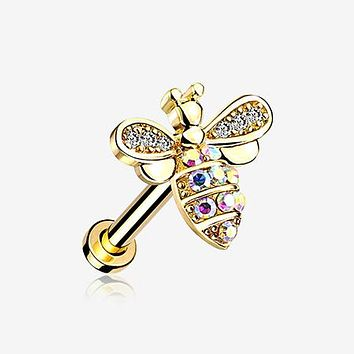 Golden Glistening Honey Bee Sparkle Internally Threaded Labret