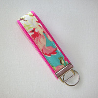 Key FOB / KeyChain / Wristlet  - Love bliss teal pink on hot pink - gift for her