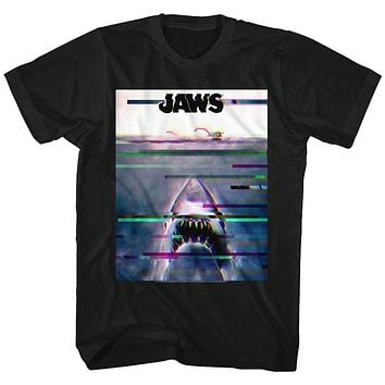 Jaws Tall T-Shirt Glitching Movie Poster Black Tee