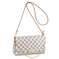 eLVe Favorite Shoulder Bag (MM, Damier Ebene Canvas Small Crossbody Bag Shoulder Bag