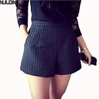NIJIUDING 2017 New Fashion Joker dark Plaid shorts high-waisted shorts Korean Casual women Jeans Shorts crochet shorts