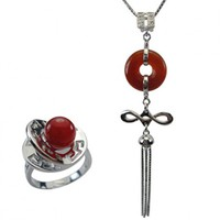 """Good Luck Red Agate Silver Pendant Necklace & Fortune, Luck, Health and Longevity Chinese Symbol Ring Set 16"""""""