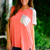 Full Of Glitz Top, Coral