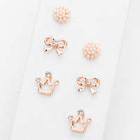 Bow Print Pink Cluster Stud Earring Set