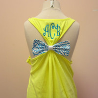 Bow Tank Top with Monogram by SewMuchFunEmbroidery on Etsy