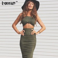 2017 Summer Women Two Piece Outfits Bodycon Dresses 2 Piece Sets Cotton Sleeveless Sexy Two Piece Bandage Beach casual Dress