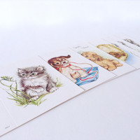 Kitten Puppy Cards - Adorable Cute 1970s Greeting Cards - Lot of 7 - Animal Illustrations - Retro Design - Paper Ephemera - Hello There!