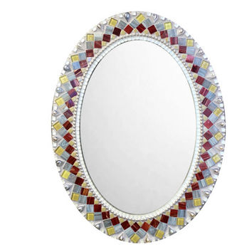 Oval Mosaic Mirror, Bathroom Mirror, Wall Mirror - Gray, Maroon, Green, Silver