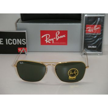 NEW Ray Ban Sunglases RB 3136 Caravan RB3136 001 58mm Gold frame green Lens