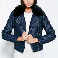 Silence + Noise Faux-Fur Collar Moto Jacket-