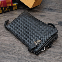 Hand-woven leather bag black