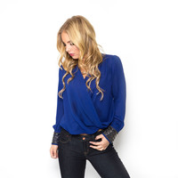 Cross My Heart Blouse In Royal Blue