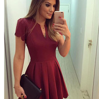 2016 Elegant Women Summer Pleated Mini Dress Sexy Short Sleeve V Neck High Waist Mini Party Dress Beach Vestidos u2