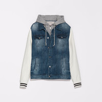 DENIM JACKET WITH FAUX LEATHER SLEEVES AND HOOD