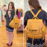 Mustard Perforated Backpack
