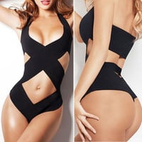 Black One-piece Swimwear Bandage Monokini Swimsuit Bikini Set