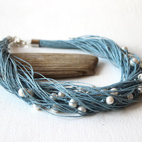 Pearl  blue linen necklace / June birthstone necklace / wedding necklace / Free Shipping