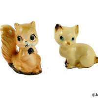 Miniature Cat & Squirrel Figurines Hand Painted Lusterware Diorama Art Dollhouse Animal