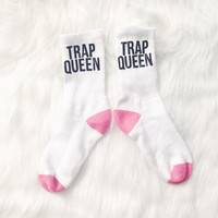 Trap Queen Printed Socks With Pink Toe and Heel.