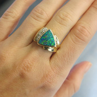 Unique 14KT Yelow Gold Man Made Inlaid Boulder Black Opal & Diamond Abstract Colorful Statement Ring Size 6.5