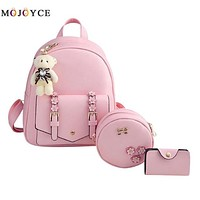 School Backpack 3pcs/set Women Backpack Teenage Girls PU Leather Shouder  mochilas mujer 2018 Mochila Feminina AT_48_3