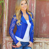 Just In Case Lace Jacket - Royal Blue