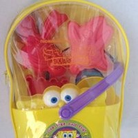 Nickelodeon Spongebob Beach Toy Set in a Clear Backpack Includes Rake, Shovel, Sand Sifter, Two Molds, Sturdy Spongebob Bucket, and a See-through Backpack