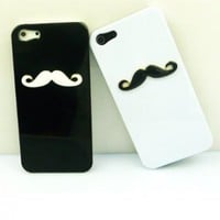 Two pieces 3D Efendi Chaplin's mustache Case Cover Shell For iPhone 5 5g 6th lovers & couple HZ