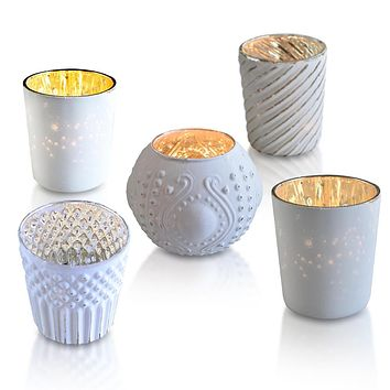 Royal Chic Antique White Mercury Glass Tea Light Votive Candle Holders (Set of 5, Assorted Designs and Sizes)
