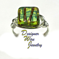 DWJ0315 Czech Glass Ocean Waves Picasso Silver Wire Wrapped Ring All Sizes