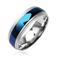 STR-0103 8mm Stainless Steel Ring Ion Plated With IP Blue Center