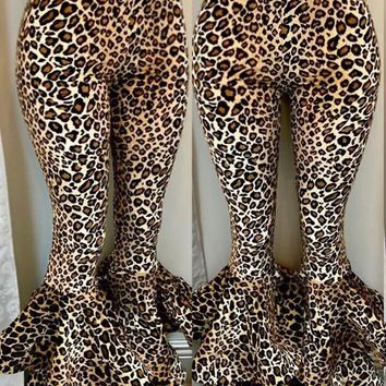 New Leopard Cascading Ruffle Bodycon Casual High Waisted Bell Bottomed Flares Long Pant