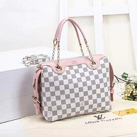 LV Louis Vuitton new trend classic printing letters color matching ladies chain shopping shoulder bag messenger bag
