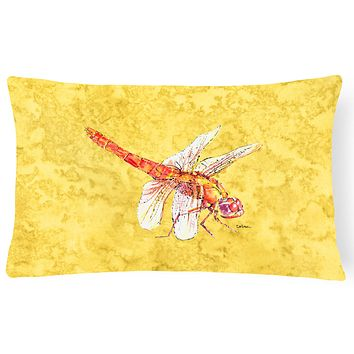 Dragonfly on Yellow   Canvas Fabric Decorative Pillow