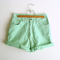 High Waisted Shorts Mint Green Pastel Soft Grunge Clothing Christmas in July CIJ