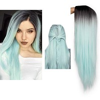 Ombre Green Straight Long Synthetic Wigs For Women - 24 inch 9 Colors